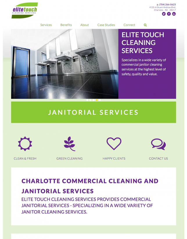 Website Design of Website Design for Elite Touch Cleaning Services