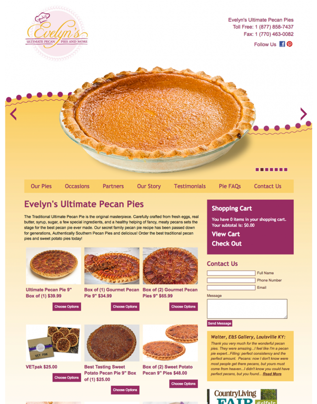 Website Design of Ultimate Pecan Pies
