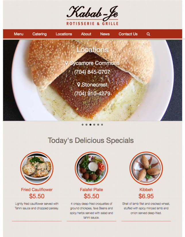 Website Design of  Kabab-Je Rotisserie & Grille