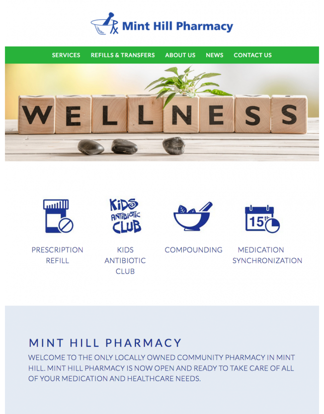 Website Design of Mint Hill Pharmacy