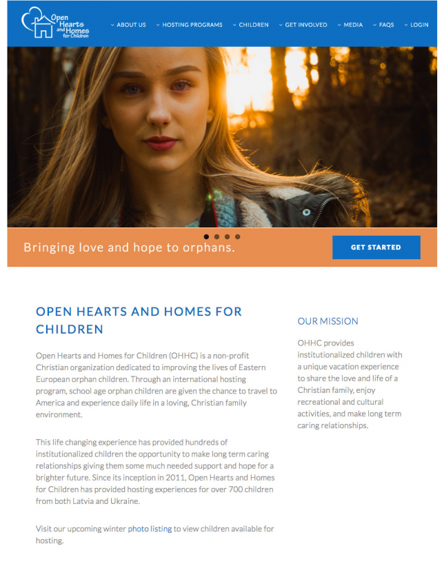 Website Design of Open Hearts and Homes for Children