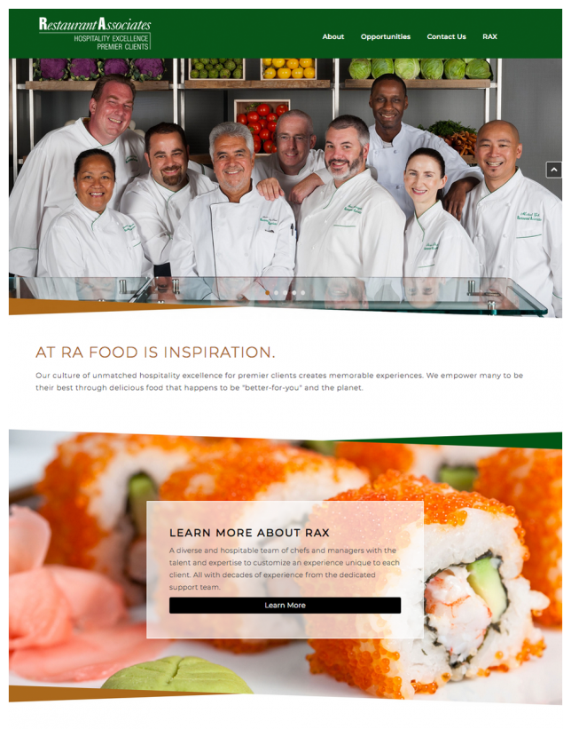 Website Design of Corporate Restaurant Website Design