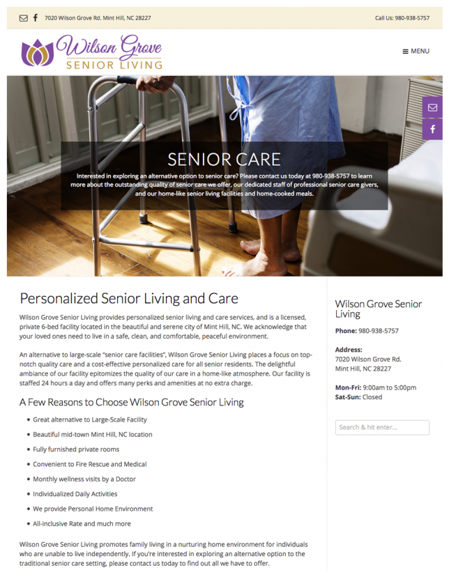Website Design of Senior Living Small Business Website Design